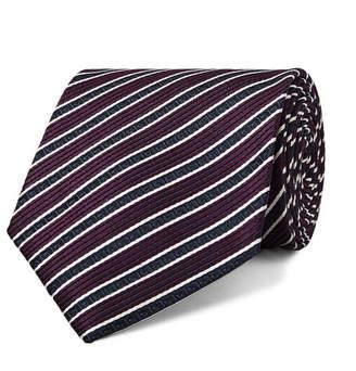 Ermenegildo Zegna 8cm Striped Silk-Jacquard Tie - Men - Grape