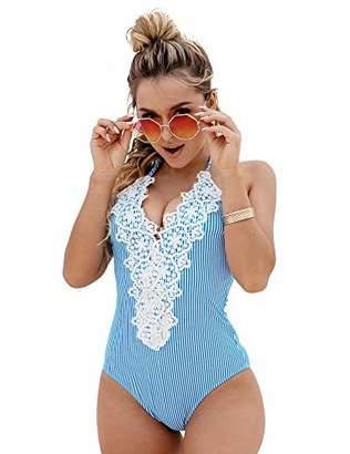 d89dfa238648a Bloom Muse Women's Sexy One Piece Swimsuits Vintage Bathing Suit Halter  Bikini Sets Striped Lace Tummy