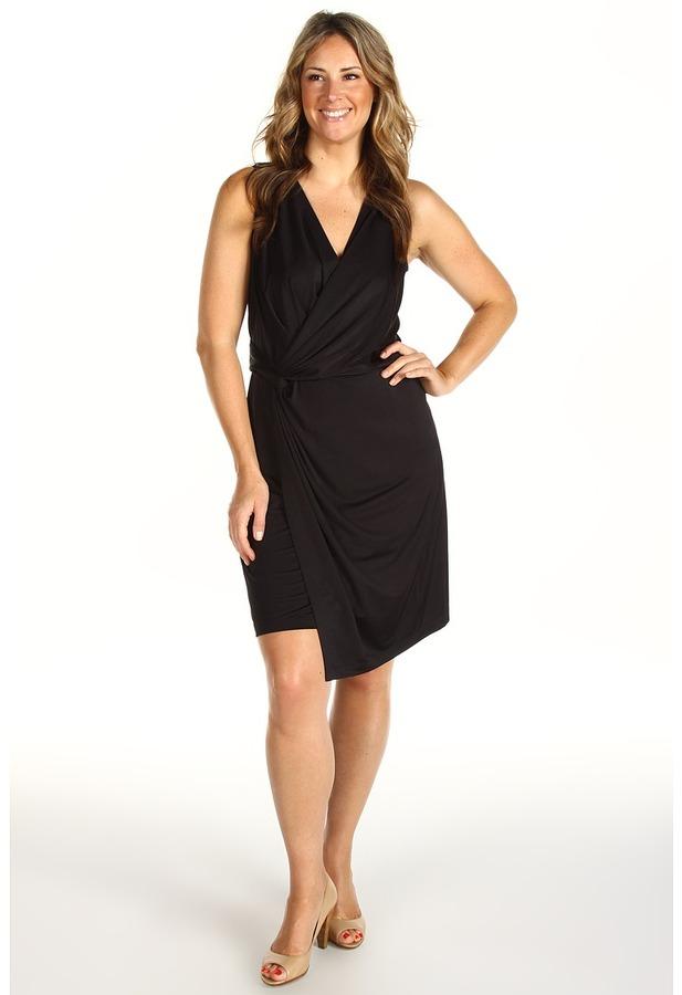 DKNY DKNYC - Plus Size Slit Front Dress (Black) - Apparel