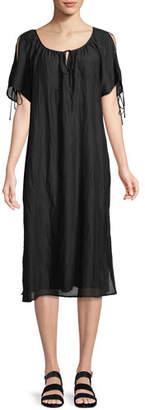 Velvet Magson Cotton-Silk Tie-Sleeve Midi Dress