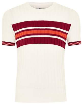 Topman Mens White and Burgundy Stripe Ribbed Sweater