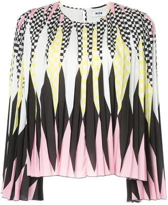 MSGM pleated diamond print blouse