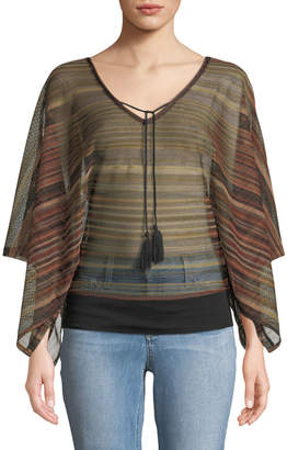 Sanctuary Island Striped-Chiffon Poncho Top