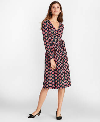 Brooks Brothers Rose-Print Jersey Faux Wrap Dress