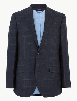 Marks and Spencer Navy Pure Linen Checked Regular Fit Jacket