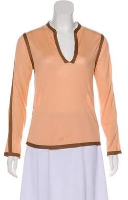 Marc Jacobs Long Sleeve Cashmere & Silk-Blend Top