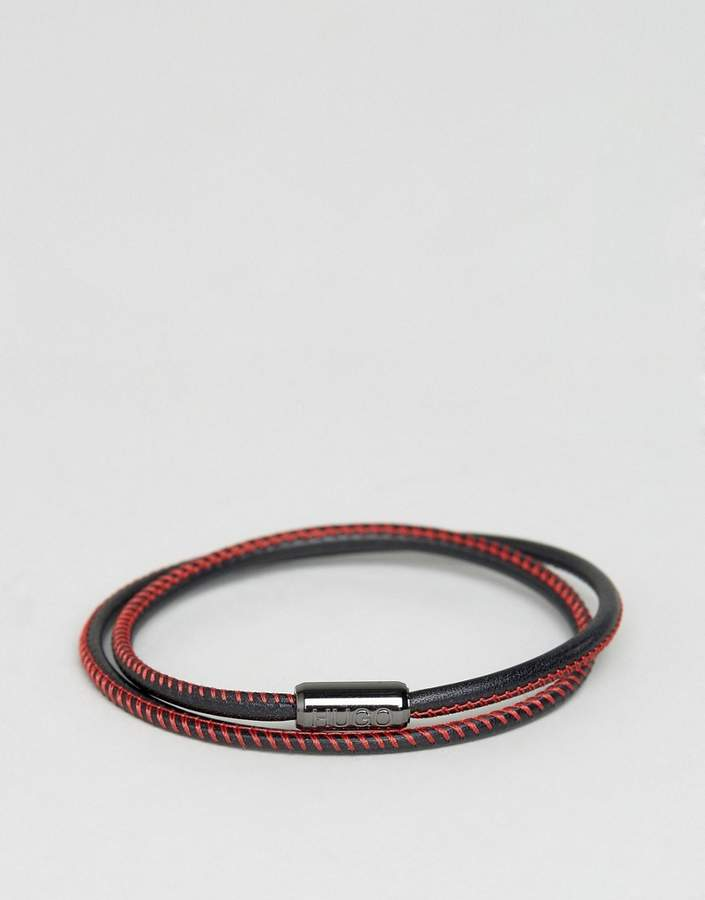 Hugo Boss BOSS by Hugo Boss Leather Wrap Bracelet In Black/Red