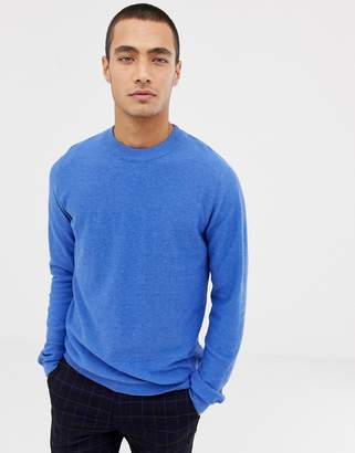 Selected knitted sweater in cotton cashmere mix