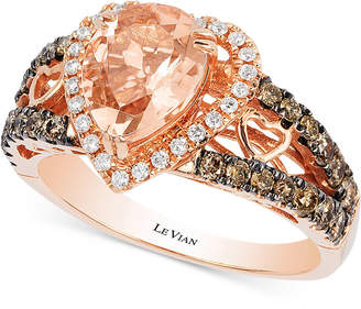 Le Vian Chocolatier® Peach Morganite (1-1/5 ct. t.w.) and Diamond (2/3 ct. t.w.) Ring in 14k Rose Gold, Only at Macy's $3,500 thestylecure.com