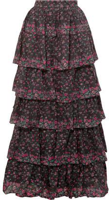 LoveShackFancy Carmen Tiered Floral-print Cotton Maxi Skirt - Black