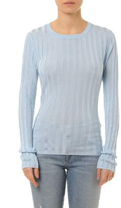 Acne Studios Sitha Shiny Blue Viscose Embossed Strips Knitwear
