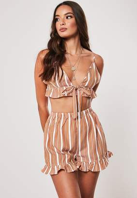 Missguided Petite Pink Co Ord Stripe Frill Shorts