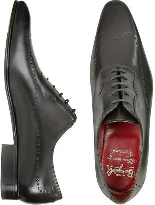 Fratelli Borgioli Handmade Black Italian Leather Wingtip Dress Shoes