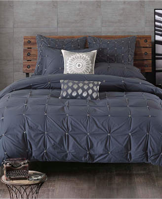 Ink+ivy Ink+Ivy Masie Cotton Percale Embroidered Ruched Full/Queen Duvet Mini Set Bedding