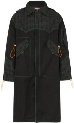Boramy Viguier check print panelled cotton blend parka coat