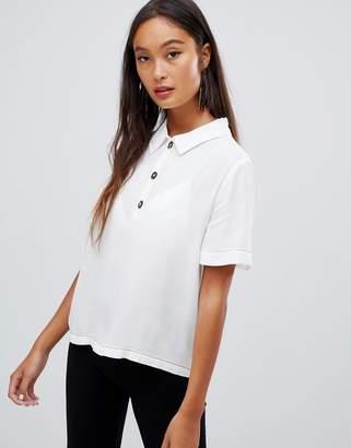 Bershka contrast stitch button top blouse