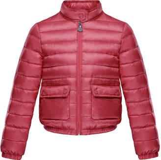 Moncler Lans Flap-Pocket Lightweight Down Puffer Jacket, Dark Pink, Size 4-6