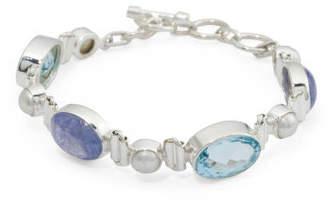 Made In India Sterling Silver Tanzanite Blue Topaz Bracelet