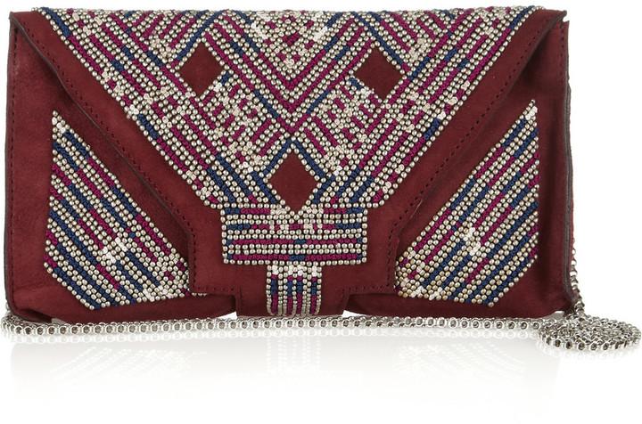 Isabel Marant Malou embellished suede clutch