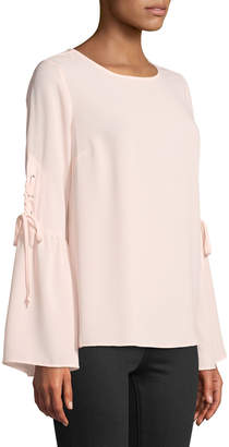 Neiman Marcus Lace Up Bell-Sleeve Chiffon Blouse