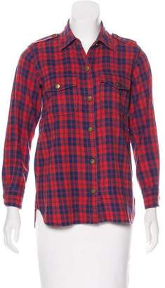 Current/Elliott Plaid Button-Up Top