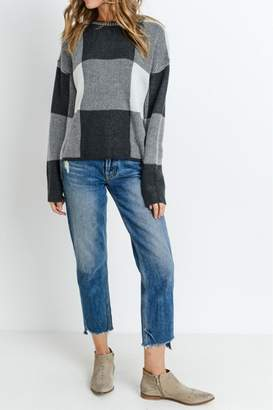 Paper Crane Checkered Sweater Top
