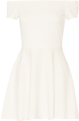 Alice + Olivia - Carisi Off-the-shoulder Stretch-jersey Mini Dress - White $275 thestylecure.com