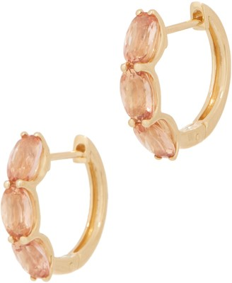 Imperial Topaz Huggie Hoop Earrings, 2.80 cttw, 14K Gold