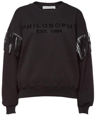Philosophy di Lorenzo Serafini Printed Cotton Sweatshirt with Fringe