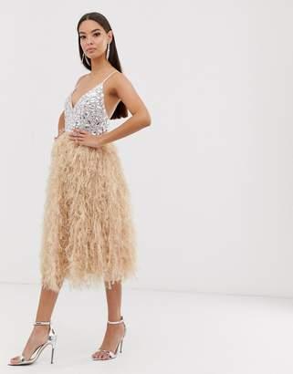 Asos Design DESIGN encrusted bodice faux feather midi dress