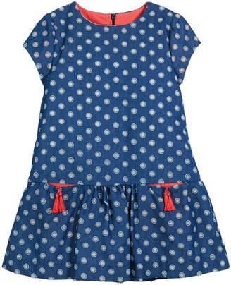 Luli & Me Denim Dot-Pattern Dress w/ Pockets, Size 2-4T