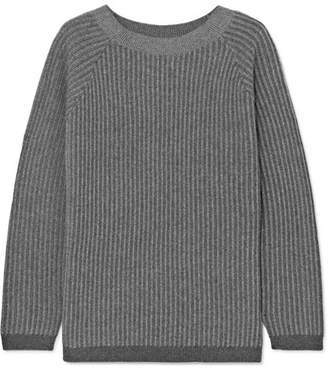Theory Ribbed Cashmere Sweater - Light gray