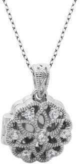 Lord & Taylor Crystal and Sterling Silver Locket Pendant Necklace