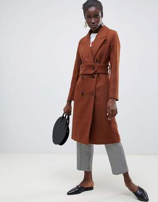 Selected wool double breasted midi length coat
