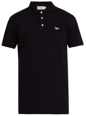 MAISON KITSUNÉ Logo Applique Cotton Pique Polo Shirt - Mens - Black