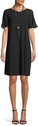 Eileen Fisher Silk Georgette Crepe V-Neck Dress