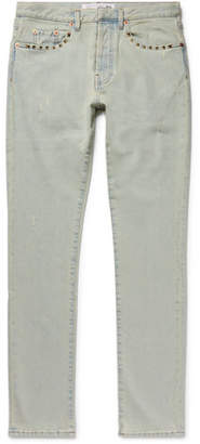 Valentino Slim-Fit Studded Distressed Denim Jeans