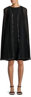 Betsy & Adam Embellished Cape A-Line Dress