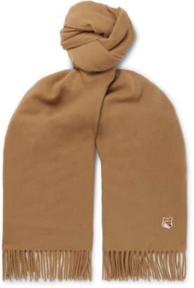MAISON KITSUNÉ Logo-Appliqued Fringed Virgin Wool Scarf