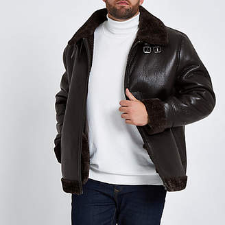 River Island Big and Tall brown faux leather aviator jacket