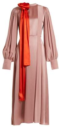 Roksanda Sanetti Tie Neck Bi Colour Silk Dress - Womens - Pink Multi