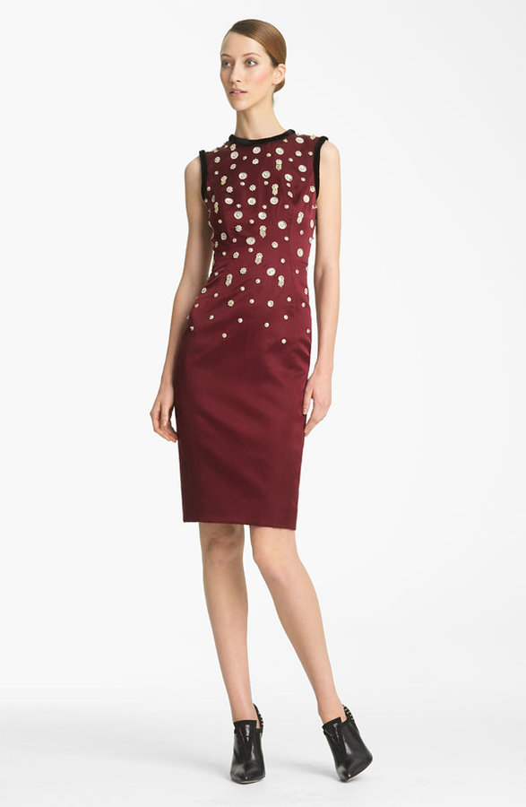 Jason Wu Beaded Sheath Dress with Mink Trim