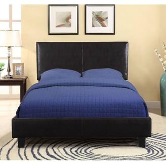 US Pride Furniture US Pride Faux Leather Platform Bed With Headboard