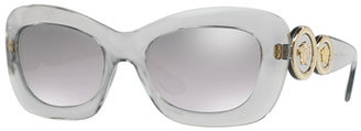 Versace Medusa '96 Mirrored Rectangular Sunglasses, Transparent Gray $265 thestylecure.com