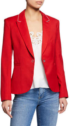 Jonathan Simkhai Ring-Snap Wool Fitted Blazer