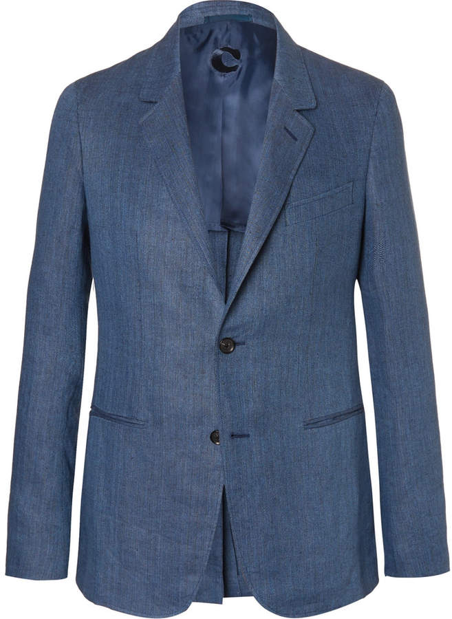 CarusoCaruso Blue Butterfly Slim-Fit Unstructured Herringbone Linen Blazer