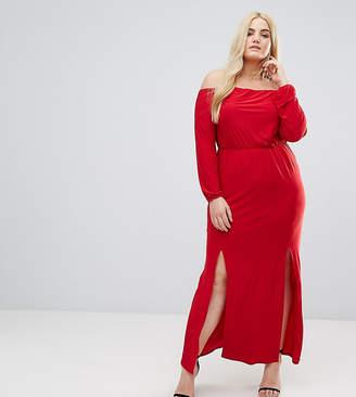 Club L Plus Bardot Maxi Dress With Split