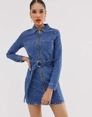 Bershka denim shirt dress in blue