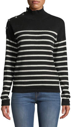 Neiman Marcus Striped-Cashmere Mock-Neck Button-Sleeve Sweater