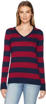 Amazon Essentials Women's Standard V-Neck Stripe Sweater